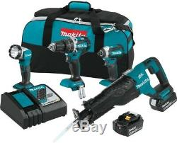Makita 18-Volt 4-Piece 5.0Ah LXT Lithium-Ion Brushless Cordless Combo Kit Sawith