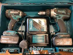 Makita 18v Lithium-ion Twin Pack, DTD152 Impact Amd DHP458 Combi Drill