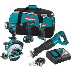 Makita Cordless Hammer Drill Combo Kit 18-Volt Lithium-Ion Bag Included (5-Tool)