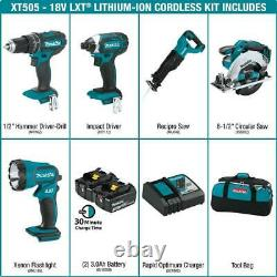 Makita Cordless Tool Combo Kit 18-Volt Lithium-Ion Battery Charger Bag (5-Tool)