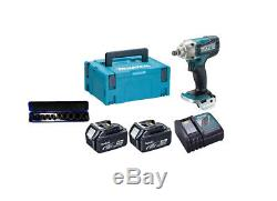 Makita DTW190RMJ 18v 2x4.0Ah Lithium-ion LXT Impact Wrench + 10 piece Socket Set