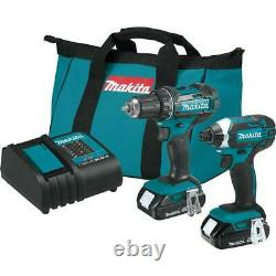 Makita Driver-Drill/Impact Driver Combo Kit 18V LXT Lithium-Ion Charger Included