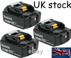 Makita Genuine Bl1850B 18v 5.0A 5.0ah 5000MAH Lithium Ion Battery X 3 With LED
