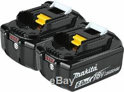 Makita Genuine Bl1860 B 18v 6.0ah Lithium Ion Battery X 2 With Led Indicator New