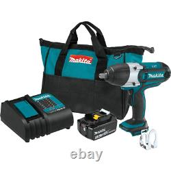 Makita Impact Wrench Kit 1/2 in. Sq. Drive 18-Volt Lithium-Ion Battery Charger