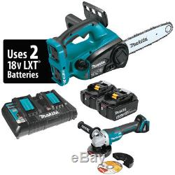 Makita XCU02PTX1 36-Volt 12-Inch LXT Lithium-Ion Chain Saw Kit and Angle Grinder